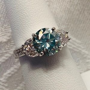 2.4 Ct VVS1 Sky Blue Moissanite Ring, Sz 7